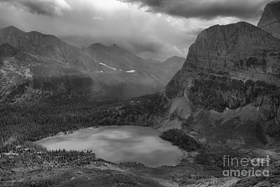 Photograph - Grinnell Lake Shining Under The Storm Black And White by Adam Jewell