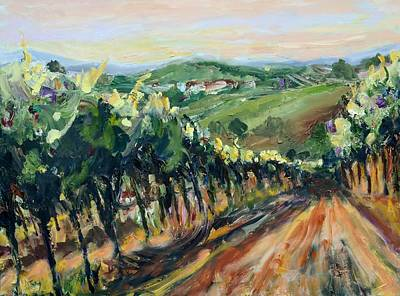 Italian Wine Painting - Grinzing Vineyard by Donna Tuten