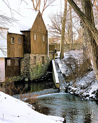 Photograph - Grist Mill In Winter by Janice Drew
