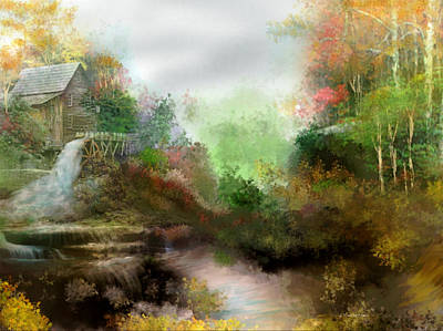 Digital Art - Grist Mill by Joan Scarbrough