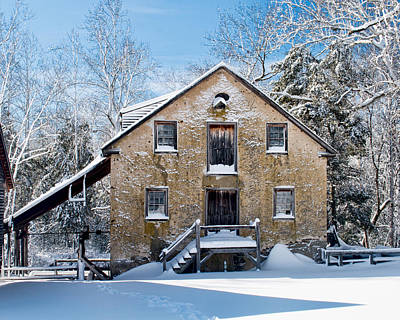 Photograph - Gristmill In The Snow by Kristia Adams