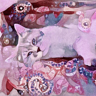 Watercolor Pet Portraits Mixed Media - Grizabella by Susan Maxwell Schmidt