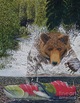 Painting - Grizzly Chase by Stanza Widen