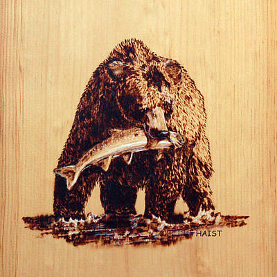 Pyrography - Grizzly 3 Pillow/bag by Ron Haist