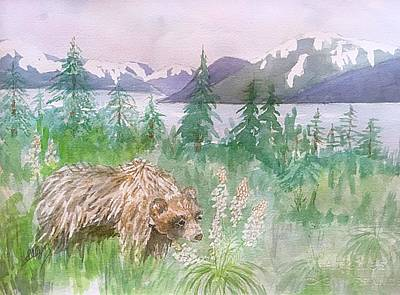 Painting - Grizzly Bear And Bear Grass Alaska  by Ellen Levinson