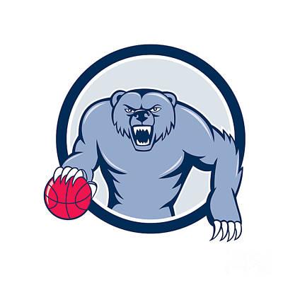 Grizzly Bear Digital Art - Grizzly Bear Angry Dribbling Basketball Cartoon by Aloysius Patrimonio
