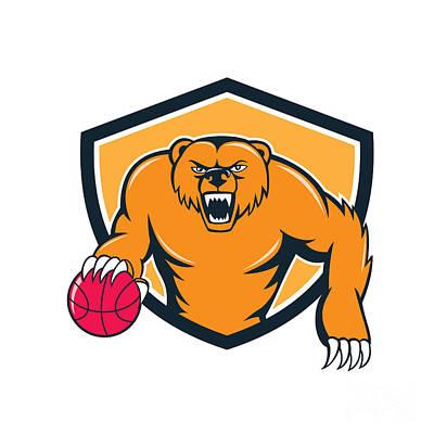 Grizzly Bear Angry Dribbling Basketball Shield Cartoon Art Print