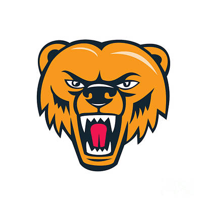 Grizzly Bear Angry Head Cartoon Art Print
