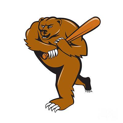 Grizzly Bear Digital Art - Grizzly Bear Baseball Player Batting Cartoon by Aloysius Patrimonio