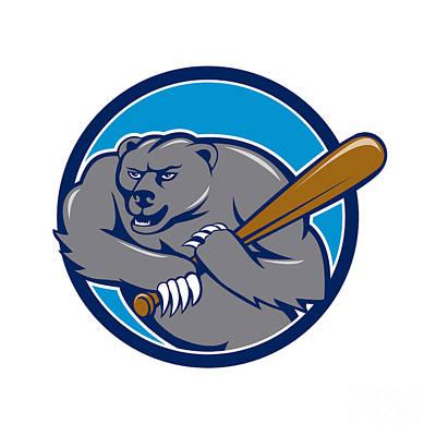 Grizzly Bear Digital Art - Grizzly Bear Baseball Player Batting Circle Cartoon by Aloysius Patrimonio