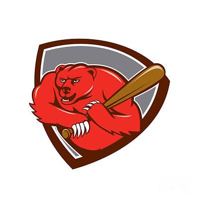 Grizzly Bear Digital Art - Grizzly Bear Baseball Player Batting Shield Cartoon by Aloysius Patrimonio