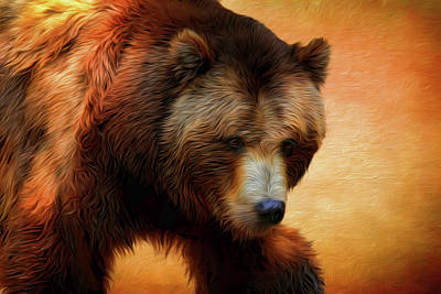 Photograph - Grizzly Bear Painted 2 by Judy Vincent