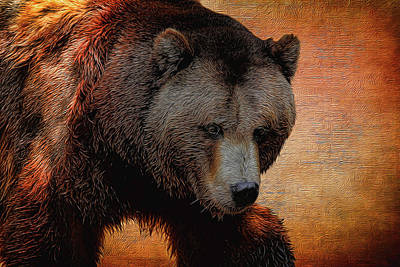 Photograph - Grizzly Bear Painted by Judy Vincent