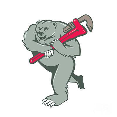 Grizzly Bear Digital Art - Grizzly Bear Plumber Monkey Wrench Cartoon by Aloysius Patrimonio