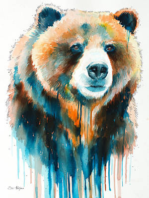 Bear Mixed Media - Grizzly Bear by Slavi Aladjova