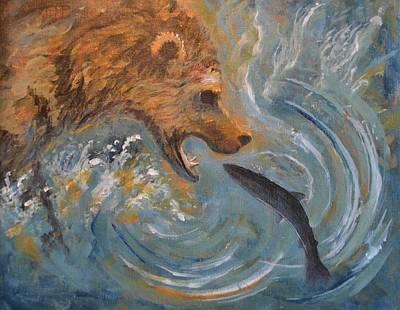 Grizzly Bear Trout Art Print