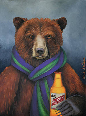 Painting - Grizzly Beer by Leah Saulnier The Painting Maniac