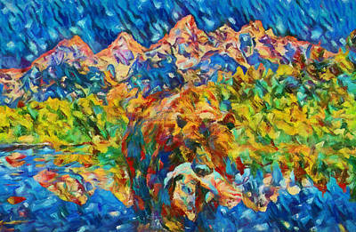 Art Print featuring the painting Grizzly Catch In The Tetons by Dan Sproul