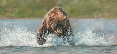 Brown Bear Painting - Grizzly Charge by David Stribbling