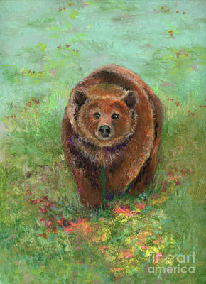 Pastel - Grizzly In The Meadow by Lauren Heller