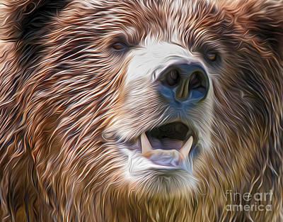 Grizzly Art Print by Lorraine Logan