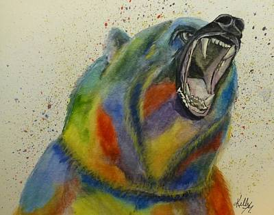 Grizzly Bear Painting - Grizzly Of Many Colors by Kelly Mills