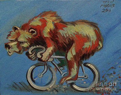 Cycles Painting - Grizzly On A Bicycle by Ellen Marcus