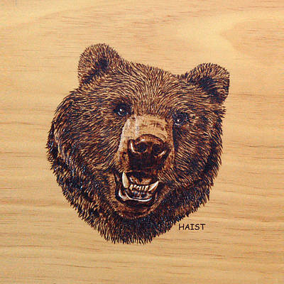 Pyrography - Grizzly Pillow/bag by Ron Haist