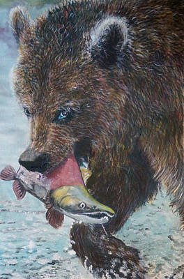 Grizzly With Salmon Original by Penny Winn