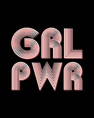 Mixed Media Royalty Free Images - Grl Pwr 1 - Girl Power - Minimalist Print - Pink Royalty-Free Image by Studio Grafiikka