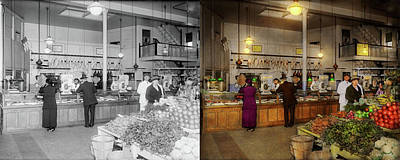 Photograph - Grocery - Butcher - Sale On Pork Today 1920 - Side By Side by Mike Savad