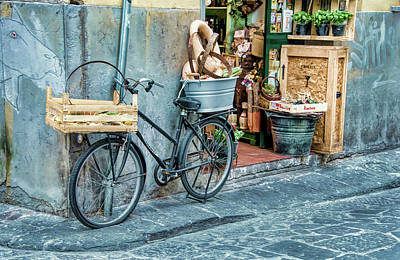 Photograph - Grocery Delivery Bicycle On Corner In Florence by Gary Slawsky