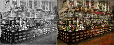 Grocery - Edward Neumann - The Groceries 1905 Side By Side Art Print by Mike Savad