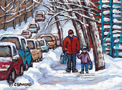 Hockey Sweaters Painting - Grocery Shopping In The Pointe Dad And Son Walking Home Winter Psc Paintings Canadian Art C Spandau by Carole Spandau