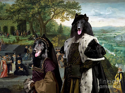 Painting - Groenendael - Belgian Sheepdog Art Canvas Print - The Panorama And Royal Party by Sandra Sij