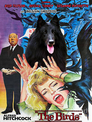 Painting - Groenendael -belgian Sheepdog The Birds Movie Poster by Sandra Sij