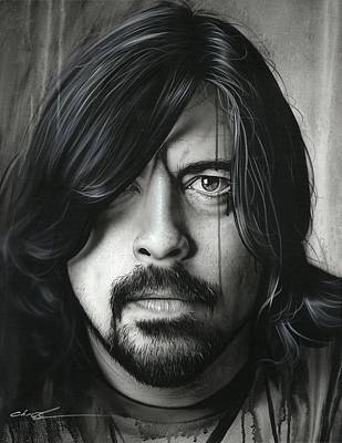 Dave Grohl Painting - Dave Grohl - ' Grohl In Black II ' by Christian Chapman Art