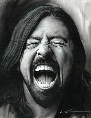 Dave Grohl Painting - Dave Grohl - ' Grohl In Black IIi ' by Christian Chapman Art