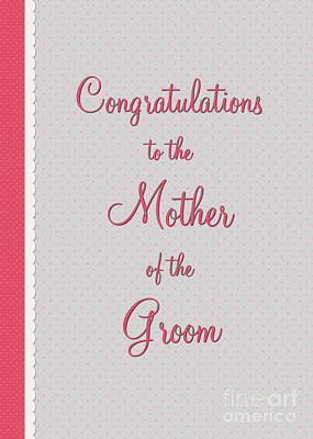 Digital Art - Groom Mothers Pink Polka Lace by JH Designs
