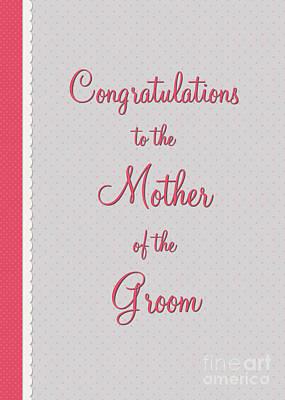 Digital Art - Groom Mothers Pink Polka Lace by JH Designs