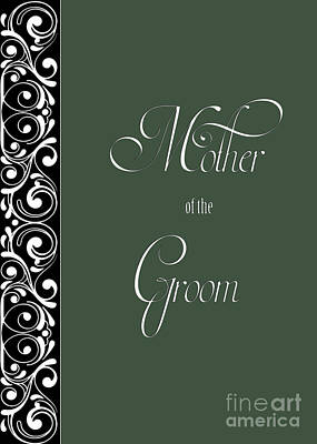 Digital Art - Groom's Mother Green Deco by JH Designs