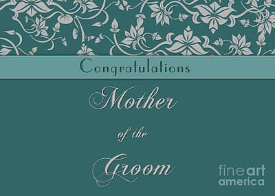 Digital Art - Groom's Mother Teal Deco by JH Designs