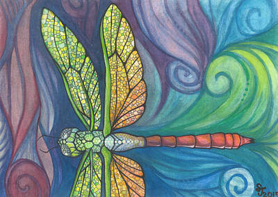 Groovy Dragonfly Spirit Original by Sarah Jane