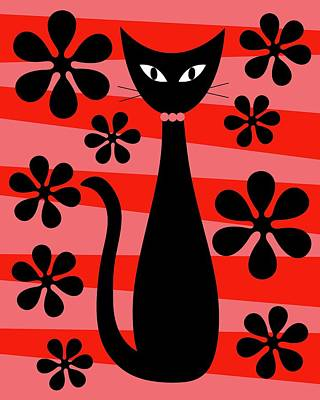 Digital Art - Groovy Flowers With Cat Red And Light Red by Donna Mibus