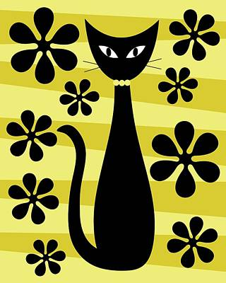 Digital Art - Groovy Flowers With Cat Yellow And Light Yellow by Donna Mibus