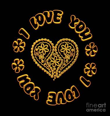Digital Art - Groovy Golden Heart And I Love You by Rose Santuci-Sofranko
