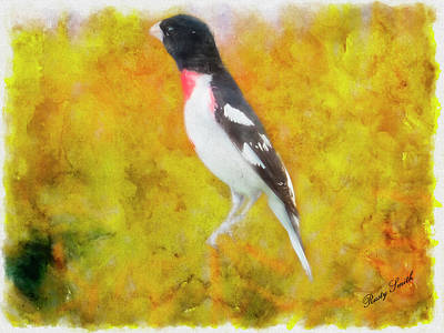 Digital Art - Grosbeak Art Portrait by Rusty R Smith