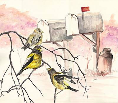 Painting - Grosbeaks by Darren Cannell