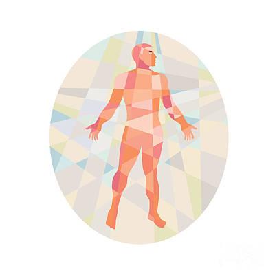 Gross Anatomy Male Oval Low Polygon Art Print