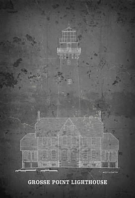 Lake Michigan Digital Art - Grosse Point Lighthouse Blueprint - Illinois by Daniel Hagerman